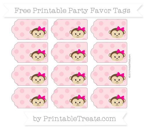 Free Pastel Pink Polka Dot Girl Monkey Party Favor Tags
