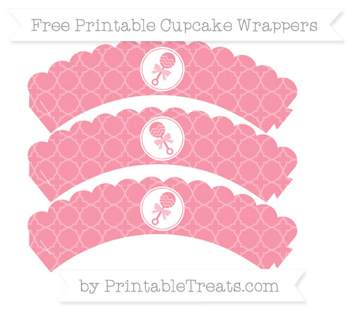 Free Pastel Pink Quatrefoil Pattern Baby Rattle Scalloped Cupcake Wrappers