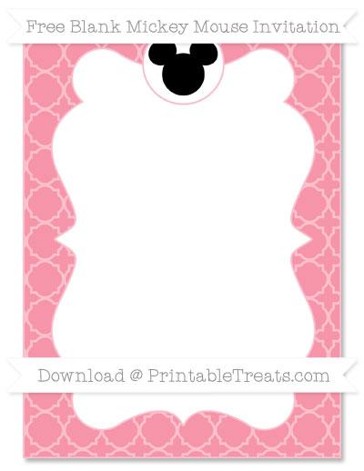 Free Pastel Pink Quatrefoil Pattern Blank Mickey Mouse Invitation