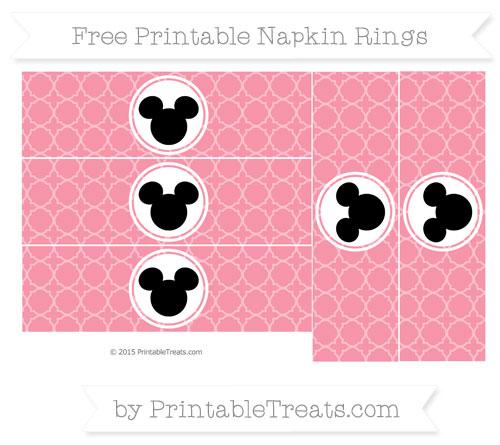 Free Pastel Pink Quatrefoil Pattern Mickey Mouse Napkin Rings