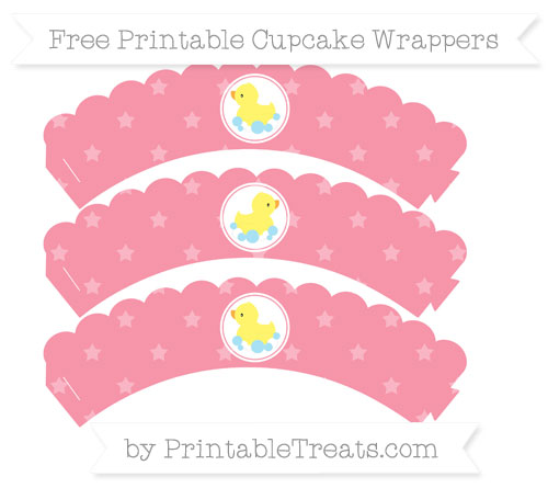 Free Pastel Pink Star Pattern Baby Duck Scalloped Cupcake Wrappers