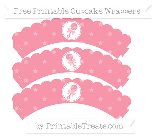 Free Pastel Pink Star Pattern Baby Rattle Scalloped Cupcake Wrappers