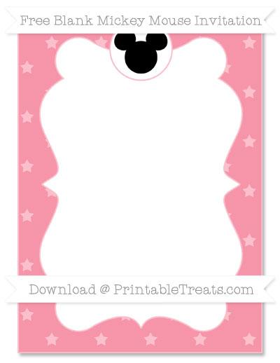Free Pastel Pink Star Pattern Blank Mickey Mouse Invitation