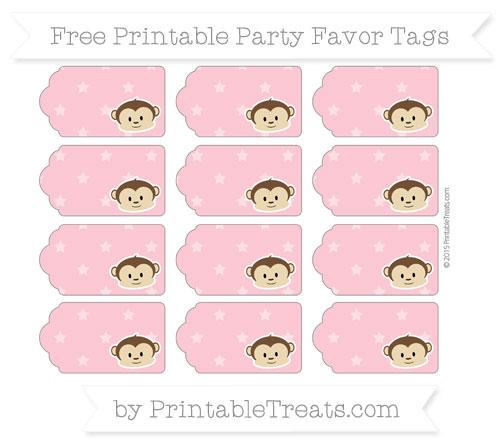 Free Pastel Pink Star Pattern Boy Monkey Party Favor Tags