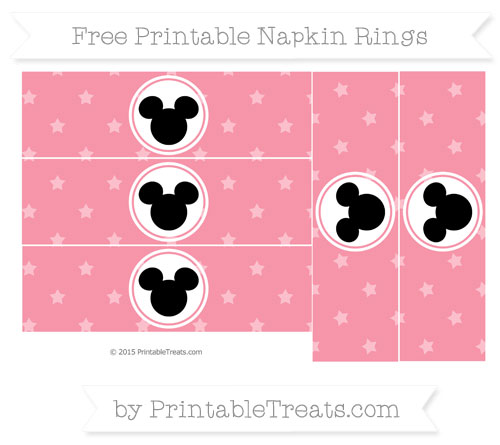 Free Pastel Pink Star Pattern Mickey Mouse Napkin Rings