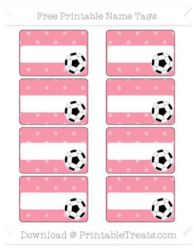 Free Pastel Pink Star Pattern Soccer Name Tags