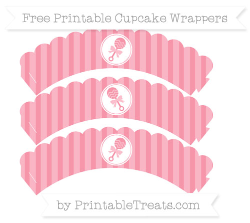 Free Pastel Pink Striped Baby Rattle Scalloped Cupcake Wrappers