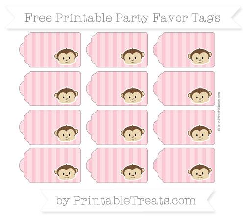 Free Pastel Pink Striped Boy Monkey Party Favor Tags