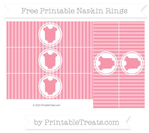 Free Pastel Pink Thin Striped Pattern Baby Onesie Napkin Rings