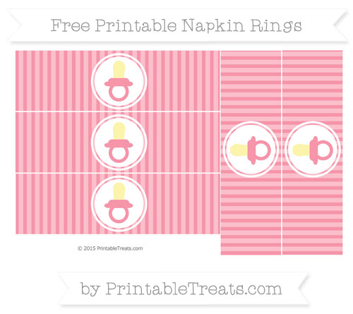 Free Pastel Pink Thin Striped Pattern Baby Pacifier Napkin Rings
