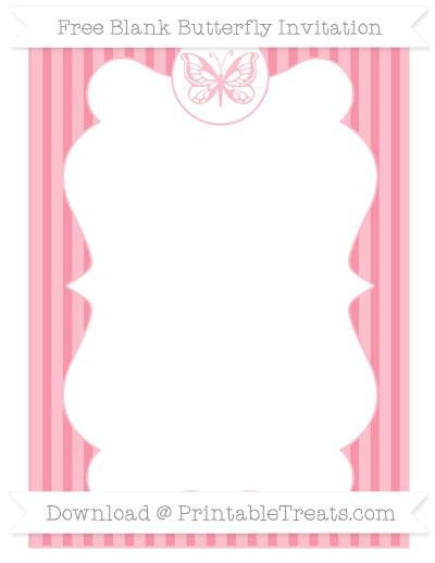 Free Pastel Pink Thin Striped Pattern Blank Butterfly Invitation