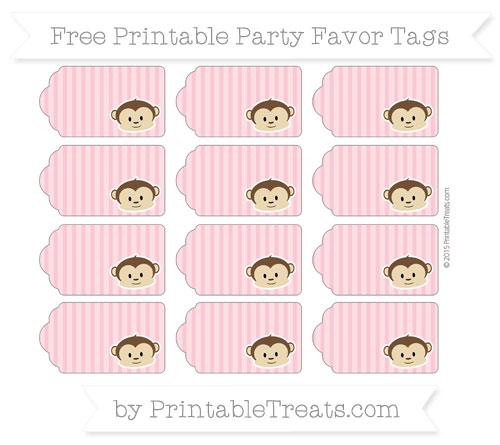 Free Pastel Pink Thin Striped Pattern Boy Monkey Party Favor Tags