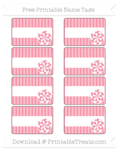Free Pastel Pink Thin Striped Pattern Cheer Pom Pom Tags