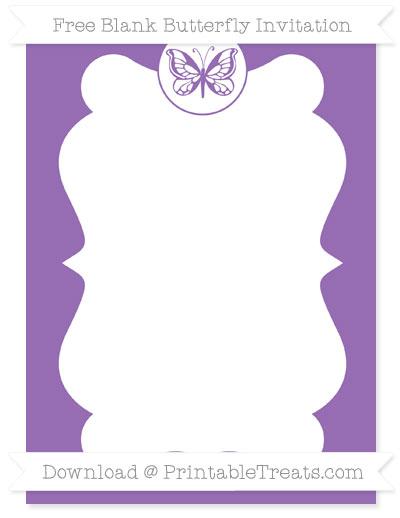 Free Pastel Plum Blank Butterfly Invitation