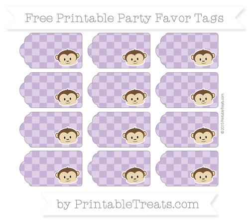 Free Pastel Plum Checker Pattern Boy Monkey Party Favor Tags