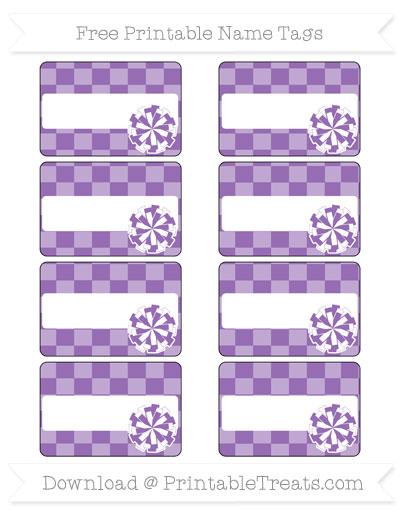 Free Pastel Plum Checker Pattern Cheer Pom Pom Tags