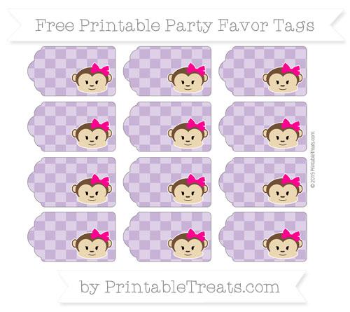 Free Pastel Plum Checker Pattern Girl Monkey Party Favor Tags