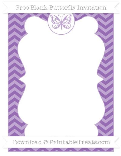 Free Pastel Plum Chevron Blank Butterfly Invitation