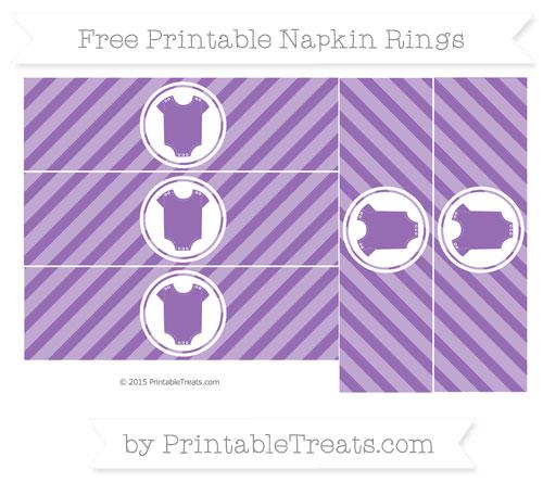 Free Pastel Plum Diagonal Striped Baby Onesie Napkin Rings