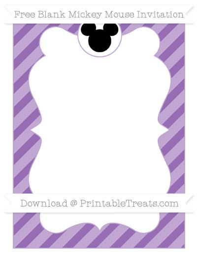 Free Pastel Plum Diagonal Striped Blank Mickey Mouse Invitation