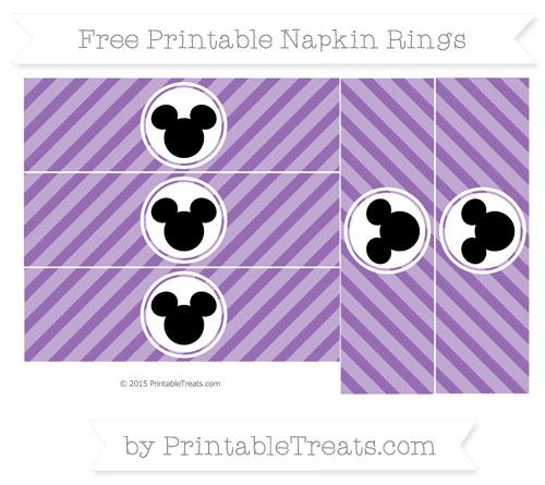 Free Pastel Plum Diagonal Striped Mickey Mouse Napkin Rings
