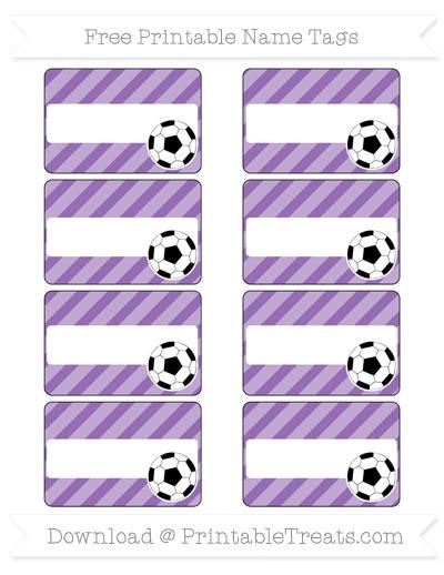 Free Pastel Plum Diagonal Striped Soccer Name Tags