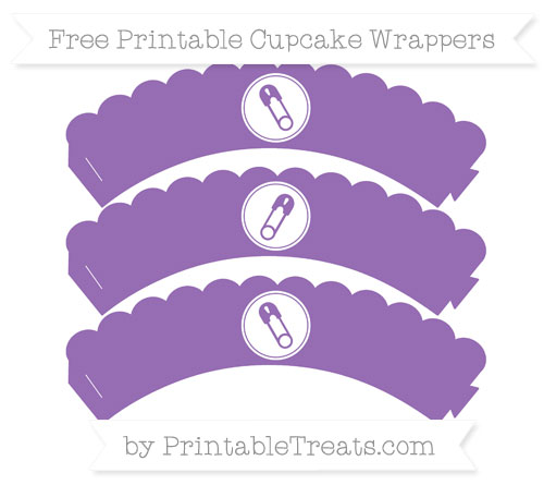 Free Pastel Plum Diaper Pin Scalloped Cupcake Wrappers