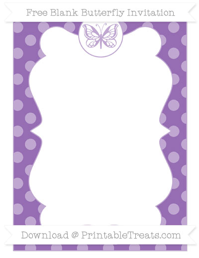 Free Pastel Plum Dotted Pattern Blank Butterfly Invitation