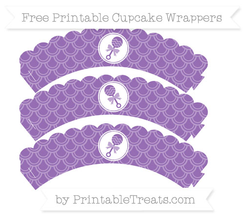 Free Pastel Plum Fish Scale Pattern Baby Rattle Scalloped Cupcake Wrappers