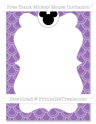 Free Pastel Plum Fish Scale Pattern Blank Mickey Mouse Invitation