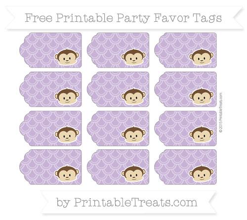 Free Pastel Plum Fish Scale Pattern Boy Monkey Party Favor Tags