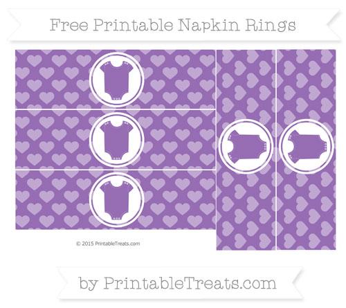 Free Pastel Plum Heart Pattern Baby Onesie Napkin Rings
