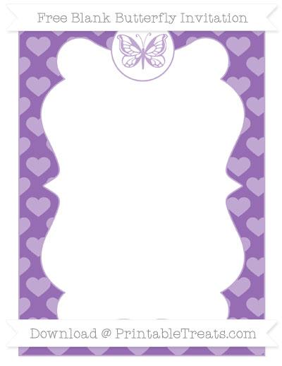 Free Pastel Plum Heart Pattern Blank Butterfly Invitation