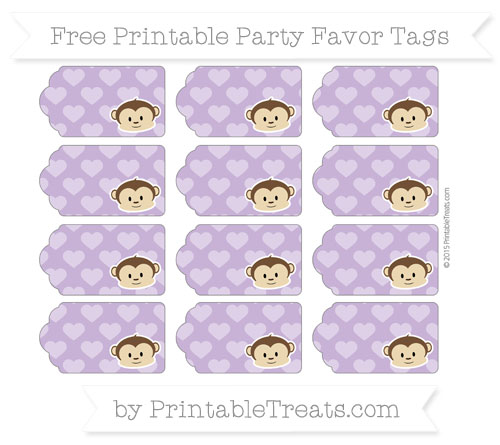 Free Pastel Plum Heart Pattern Boy Monkey Party Favor Tags