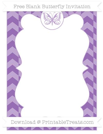 Free Pastel Plum Herringbone Pattern Blank Butterfly Invitation