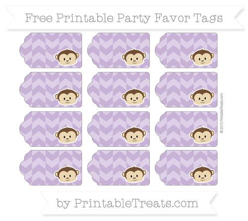 Free Pastel Plum Herringbone Pattern Boy Monkey Party Favor Tags