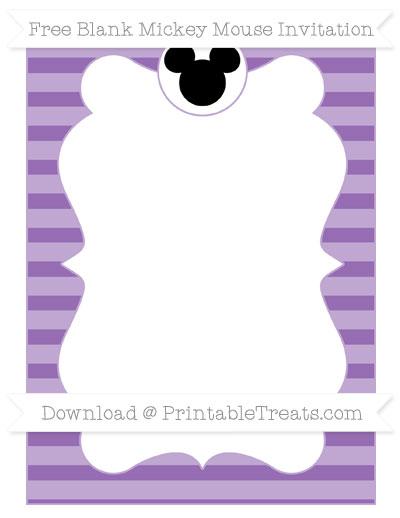 Free Pastel Plum Horizontal Striped Blank Mickey Mouse Invitation