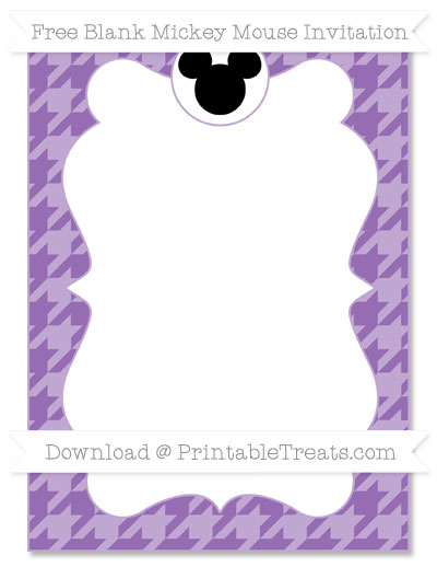 Free Pastel Plum Houndstooth Pattern Blank Mickey Mouse Invitation