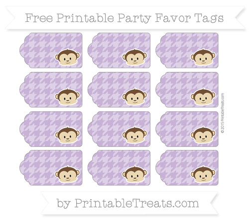 Free Pastel Plum Houndstooth Pattern Boy Monkey Party Favor Tags