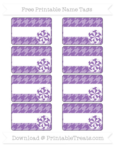Free Pastel Plum Houndstooth Pattern Cheer Pom Pom Tags