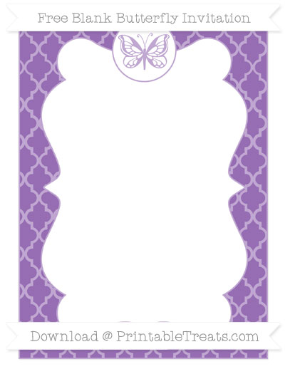 Free Pastel Plum Moroccan Tile Blank Butterfly Invitation
