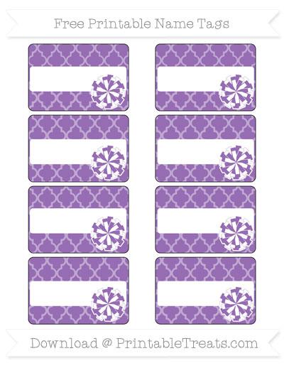 Free Pastel Plum Moroccan Tile Cheer Pom Pom Tags
