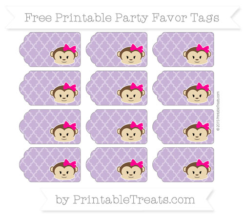 Free Pastel Plum Moroccan Tile Girl Monkey Party Favor Tags