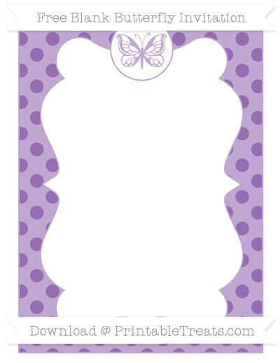 Free Pastel Plum Polka Dot Blank Butterfly Invitation