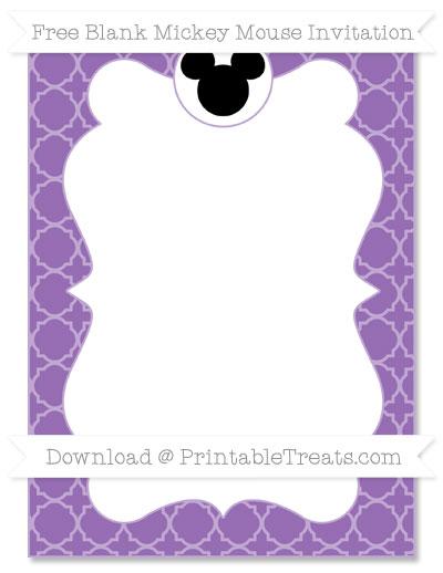 Free Pastel Plum Quatrefoil Pattern Blank Mickey Mouse Invitation