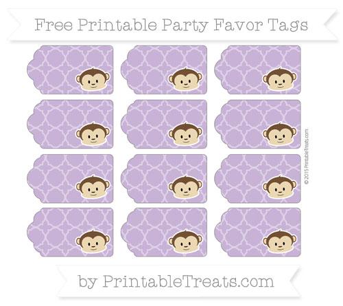 Free Pastel Plum Quatrefoil Pattern Boy Monkey Party Favor Tags