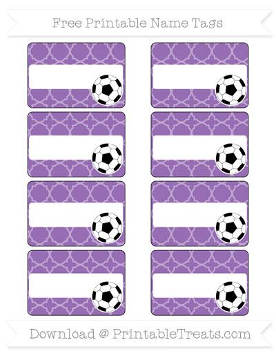 Free Pastel Plum Quatrefoil Pattern Soccer Name Tags