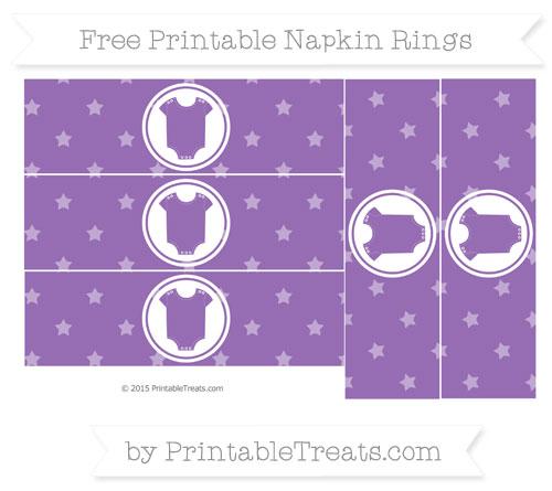 Free Pastel Plum Star Pattern Baby Onesie Napkin Rings