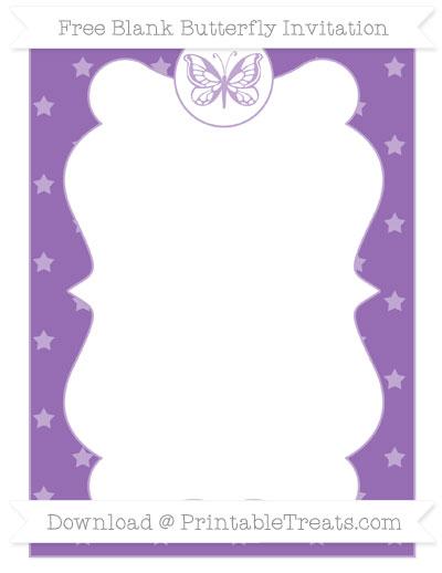 Free Pastel Plum Star Pattern Blank Butterfly Invitation