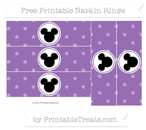 Free Pastel Plum Star Pattern Mickey Mouse Napkin Rings